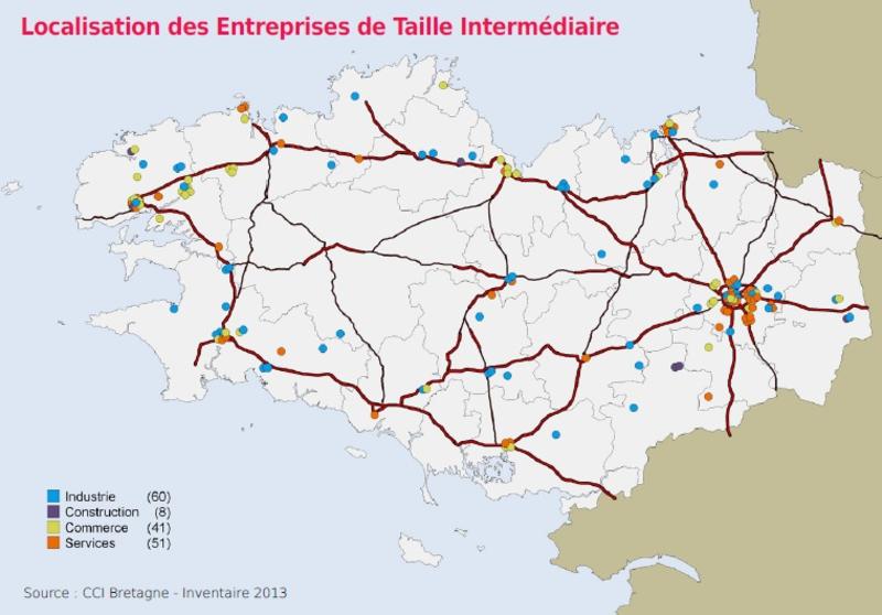 Carte des ETI en Bretagne